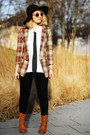 Bronze-lace-up-roland-boots-burnt-orange-tartan-persunmall-blazer