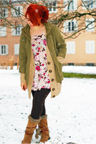 dark khaki parka H&M jacket - floral H&M dress - nude Pimkie cardigan