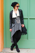 charcoal gray H&M dress - black fake leather H&M jacket