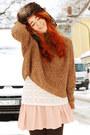 Dark-brown-fake-fur-h-m-hat-off-white-lace-mango-shirt-peach-h-m-skirt