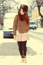 Dark-brown-fake-fur-h-m-hat-off-white-lace-mango-shirt-peach-h-m-skirt