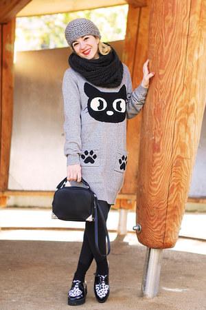 black loop Lierys scarf - heather gray kitten knit New Yorker dress