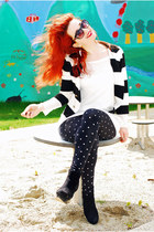 black polka dot H&M leggings - white striped H&M blazer