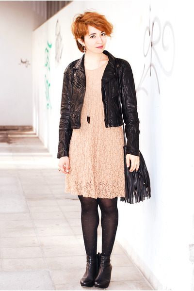 black H&M jacket - beige lace Kimchi Blue dress