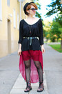 Floral-h-m-boots-maroon-ebay-skirt