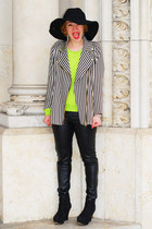 striped Zara jacket - black benetton hat