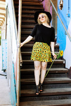 sunflower print H&M skirt - black sandal H&M wedges