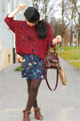 Floral-warehouse-dress-distressed-alainbella-sweater-vintage-mango-bag