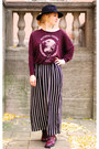 Black-striped-maxi-forever-21-skirt-maroon-zara-sweater
