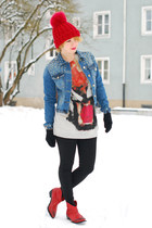 blue spiked denim Zara jacket - red cowboy Zara boots - tiger Zara sweatshirt