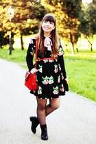 black romwe boots - black floral Fashion Union dress - cream trench romwe coat