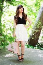 white rose lace thecolorIS dress - light pink flower Parfois bag