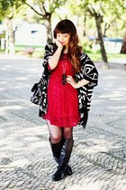 black romwe bag - brick red lace aupie dress - black aztec romwe cardigan