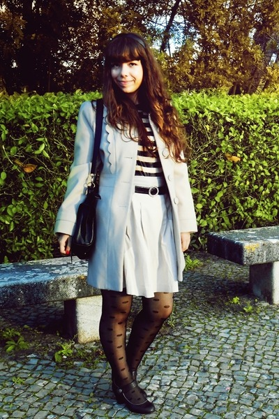 cream scalloped Primark coat - black bows OASAP bag - white Lush blouse