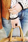 White-star-print-chicnova-blouse-burnt-orange-leather-bershka-jacket