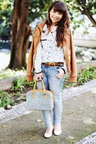 white star print chicnova blouse - burnt orange leather Bershka jacket