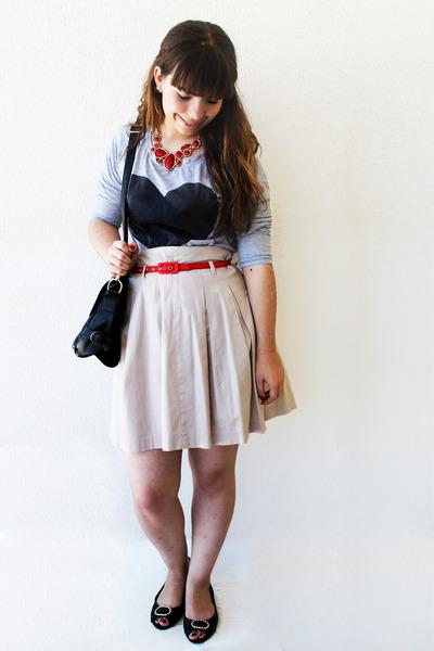 heart Choies shirt - romwe bag - Zara skirt - Bijulândia necklace - romwe belt