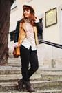 Dark-brown-spartoo-boots-camel-front-row-shop-hat-burnt-orange-romwe-jacket