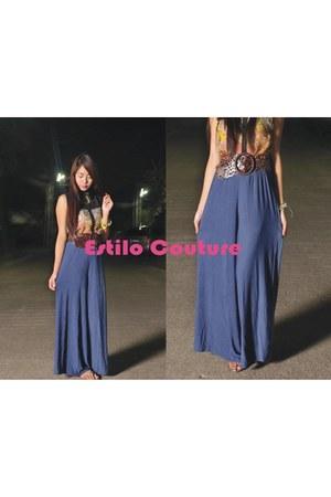 blue feminine pants