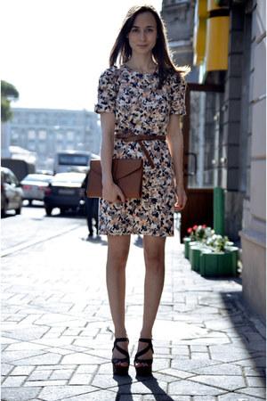 floral French Connection dress - vintage YSL bag - Motivi belt