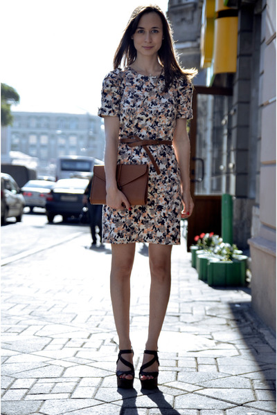 floral French Connection dress - vintage YSL bag - Motivi belt