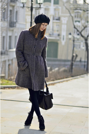 purple Mango coat - black Mango boots