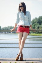 red Mango shorts - light blue Zara shirt