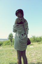 cotton DIY shirt - leather H&M bag