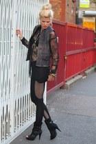 new look boots - asoscom leggings - lace top H&M shirt