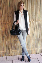 Zara necklace - sam edelman boots - All Saints jeans - DKNY bag - Zara top