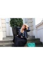 Forever 21 skirt - Oasis jacket - Francesco Biasia bag - H&M t-shirt