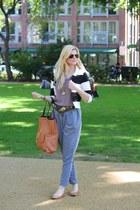 stripes H&M blazer - new look pants - Faith pumps - vintage belt