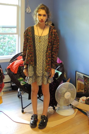 yellow unknown necklace - black Doc Marten shoes - black floral thrifted dress