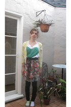 silver Nordstrom skirt - red H&M skirt - green DIY top - yellow J Crew cardigan