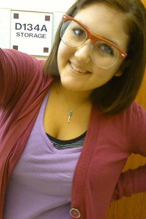 purple Charlotte Russe blouse - blue tiffanys necklace - pink wal-mart glasses -