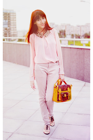 light pink OASAP blouse - gold asos shoes