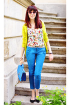 sky blue TinaR pants - yellow Cache Cache cardigan - black H&M heels