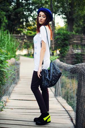 magenta leopard print H&M jeans - black Forever 21 bag