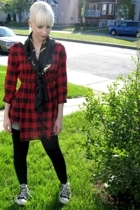 Urban Outfitters blouse - Cool Socks scarf - Converse shoes - necklace - vintage