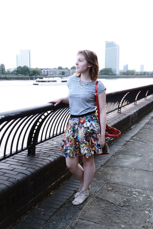 teal new look skirt - brown ted baker bag - silver Primark blouse