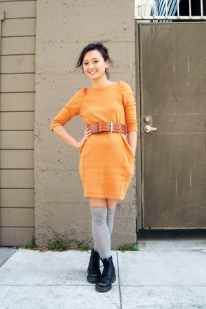 H&amp;M dress - socks - doc martens shoes - vintage belt