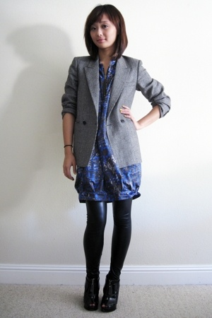 vintage blazer - Vaudeville and Burlesque dress - members only leggings - payles