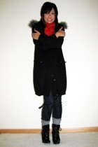 H&M coat - H&M accessories - H&M scarf - Uniqlo jeans - payless shoes