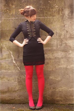 black jacket - black H&M dress - red We Love Colors tights - black studded heels