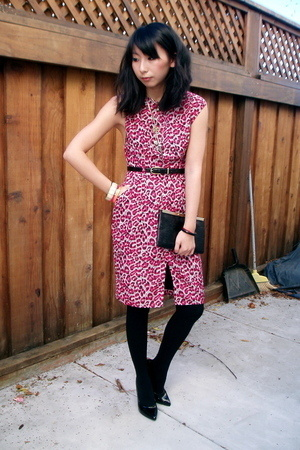 black patent pump Pleaser shoes - pink leopard print Judi Rosen dress - black op