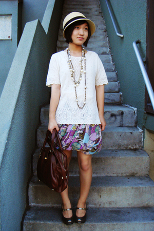 UO hat - thrifted top - heatherette skirt - Chie Mihara shoes - H&amp;M necklace - J