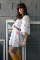 white vintage dress - mustard vintage socks - tan vintage belt