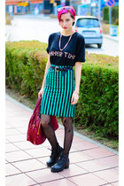 stripe nowIStyle skirt - oversize second hand shirt - nowIStyle bag