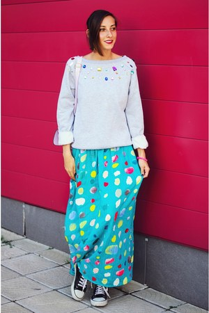 dotted maxi Nmenouno skirt - Choies sweatshirt