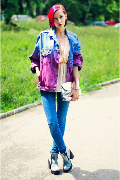 DIY jacket - camo boots H&M boots - asos jeans - Lady Made top